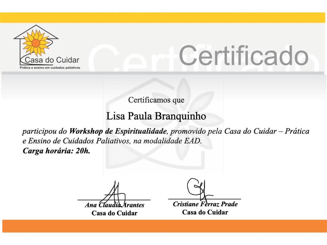 Imagem certificado Workshop espiritualidade