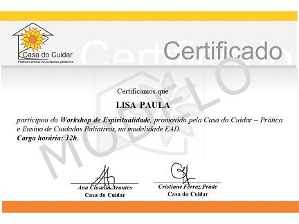 Modelo certificado - curso Workshop de Espiritualidade